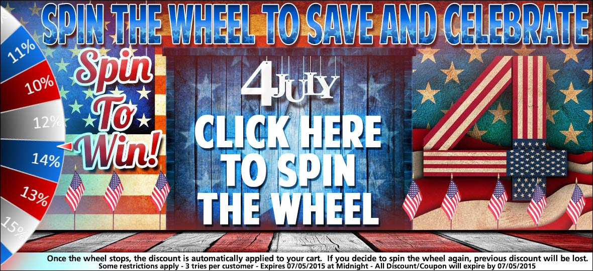 Save up to 15% Off Your Order By Spinning the Wheel of Fortune