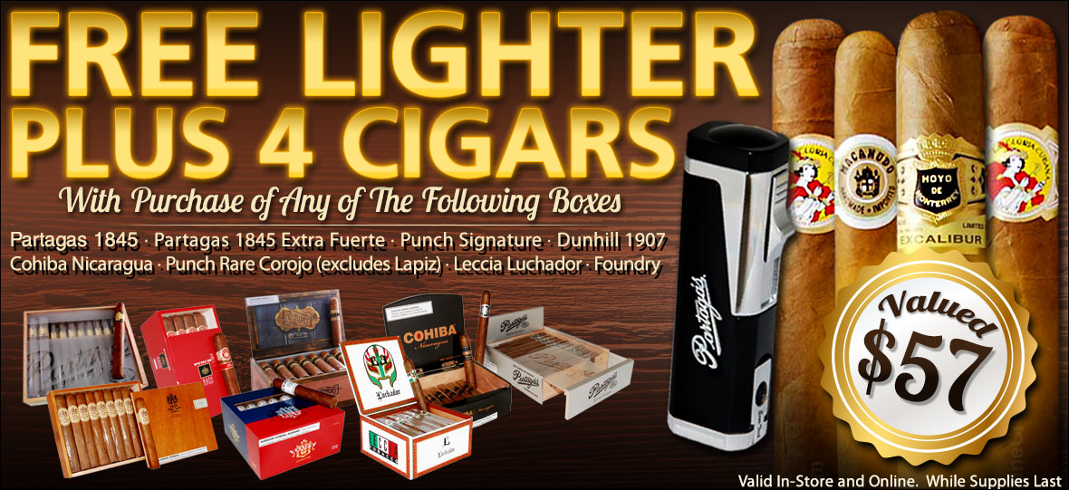 Four Free Cigars and Lighter with Box Purchase of Partagas, Punch, Cohiba, Dunhill, Foundry Cigars