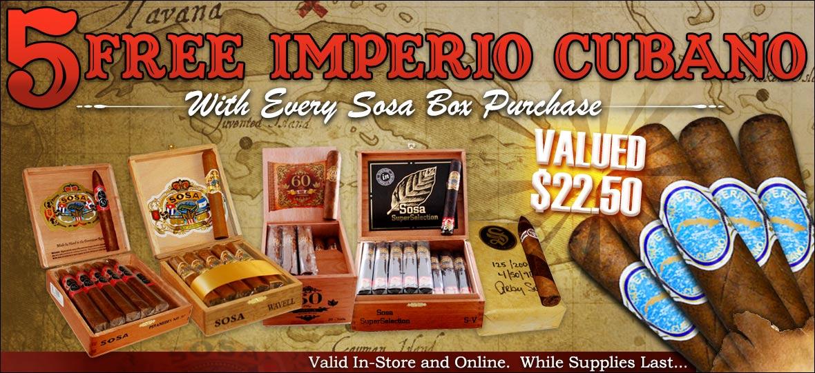 5 Free Imperio Cubano Cigars With Any Sosa Cigars Box Purchase