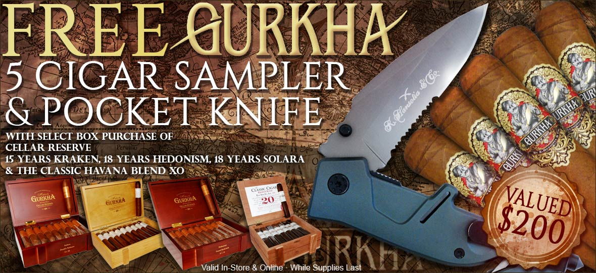 5 Free Cigars and Gurkha Knife With Select Gurkha Cigars Box Purchase