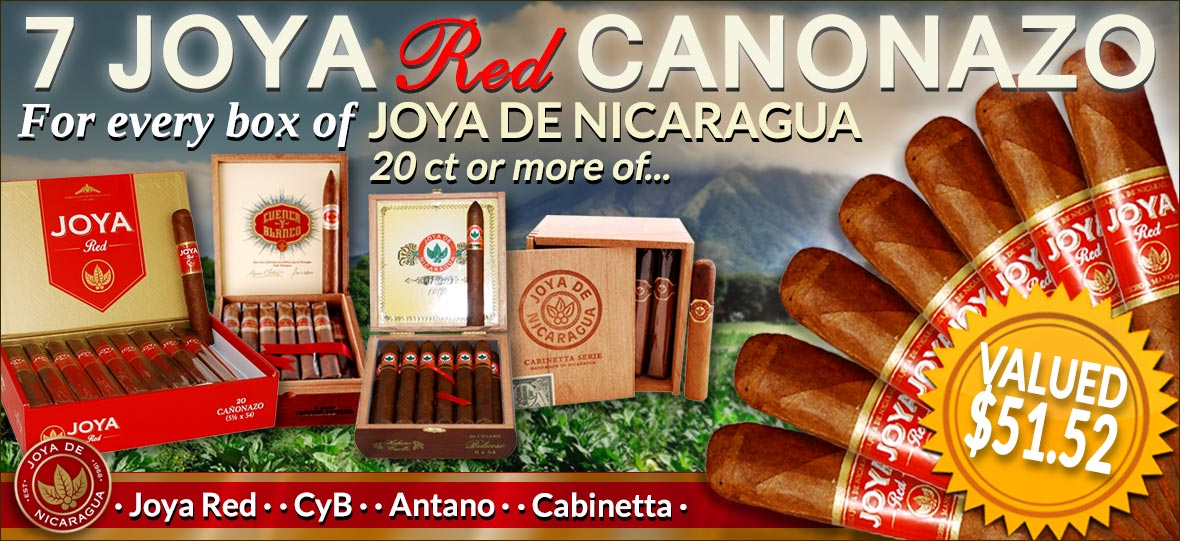 7 Free Joya Red Cigars With Any Joya de Nicaragua Box Purchase