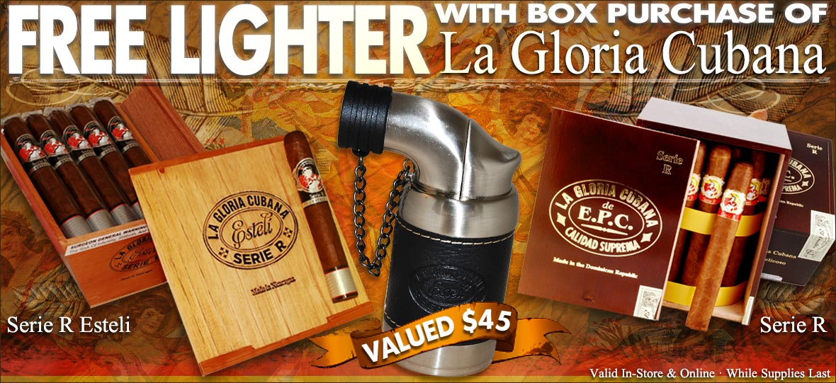 Free Cigar Lighter With Select Box Purchase of La Gloria Cubana Cigars