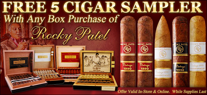 Buy Any Box of Rocky Patel and Receive Free 5-Cigar Sampler