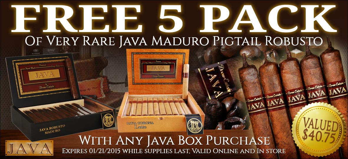 Buy Any Box of Java and Receive a FREE Java Maduro Robusto 5-Pack