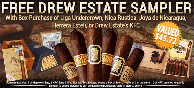 Liga Undercrown, Nica Rustica, KFC- Receive a FREE 6 Cigar Sampler with Box Purchase