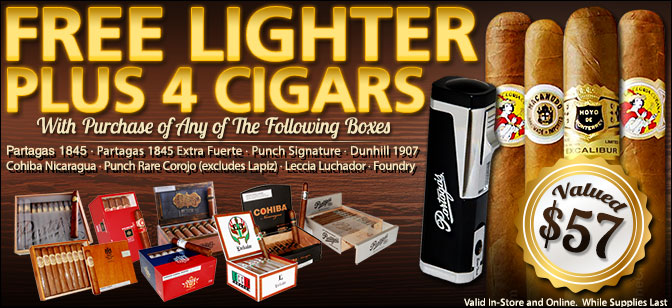 FREE Partagas Brand Lighter and 4-Cigar Sampler with Select Box Purchase!
