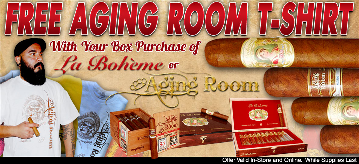 Free Aging Room Tee Shirt With Cigar Box Purchase of La Boheme or Aging Room