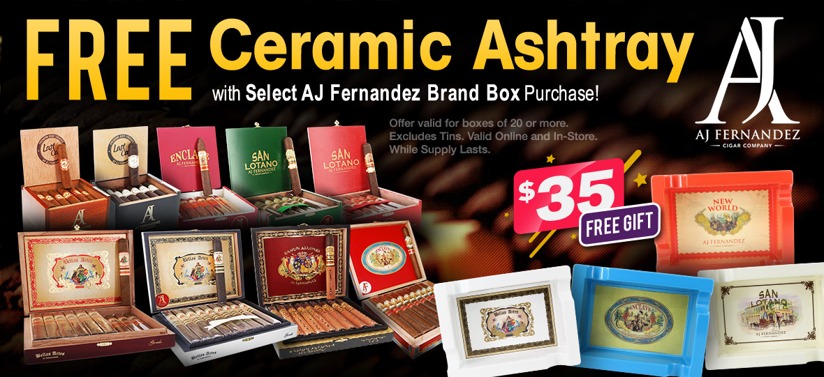 Free Ceramic Ashtray with Box Purchase!