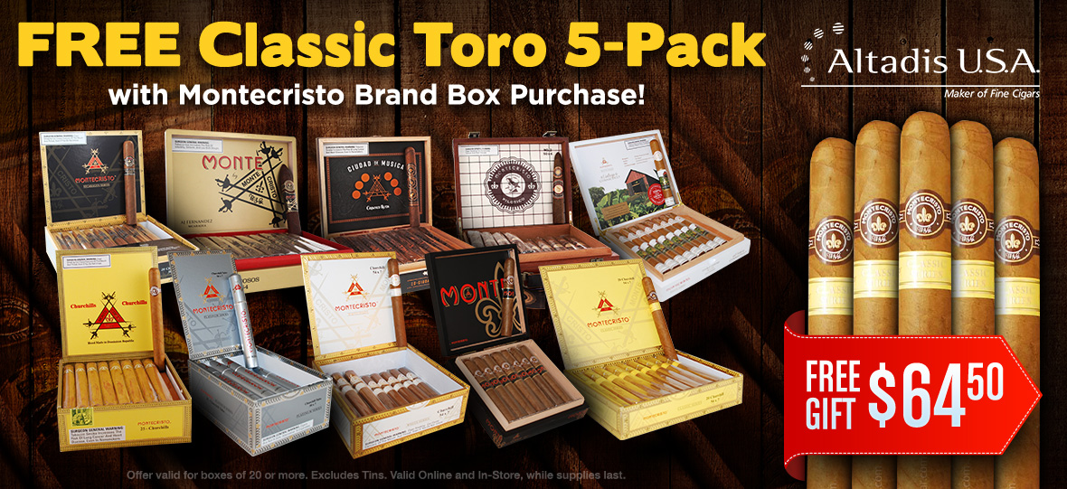 5 Free Cigars With Montecristo Cigar Box!