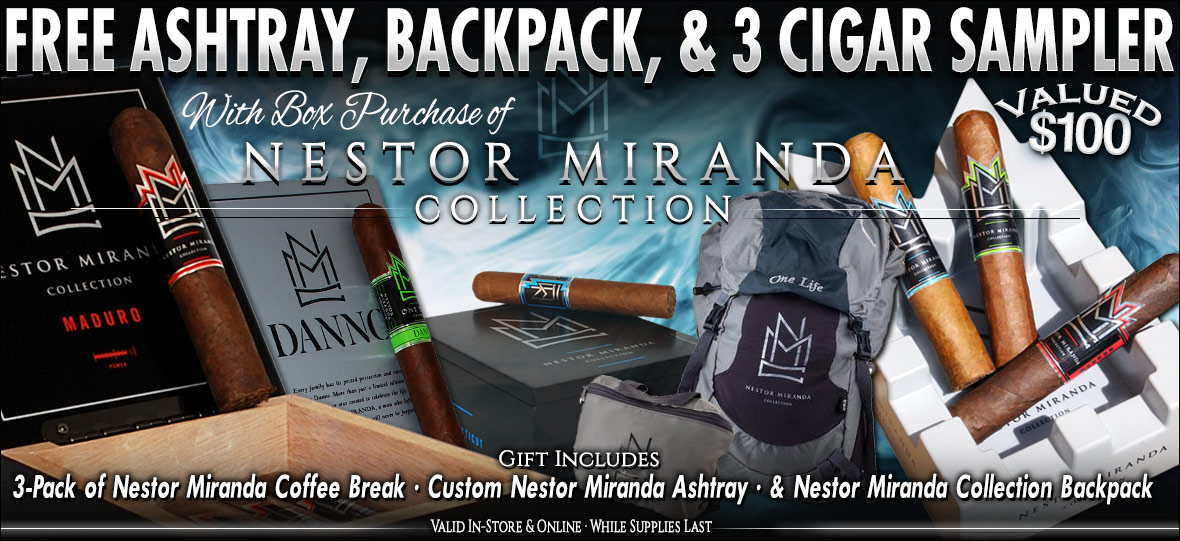 Free Nestor Miranda Ashtray, Backpack and Cigars With Cigar Box Purchase