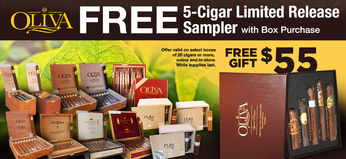 Get a free 5-Cigar Sampler with Box Purchase!