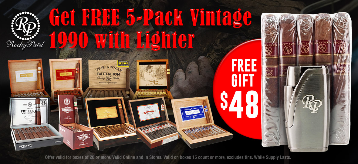 Free Sampler and Lighter $48 Value Gift with Every Box!