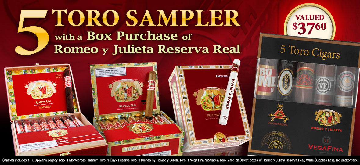 Free Altadis Sampler With Box purchase or Romeo y Julieta Reserva Real Cigars
