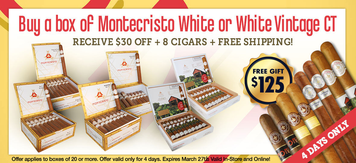 $30 Off + 8 Free Cigars + Free Shipping on Montecristo White