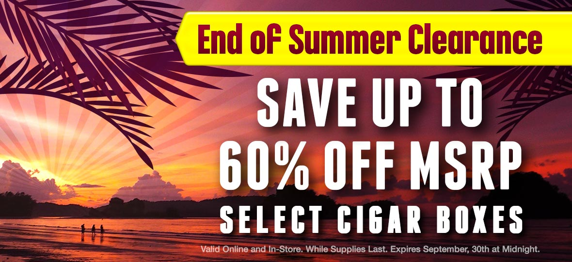 Save up to 60% Off MSRP on Select Boxes of Cigars