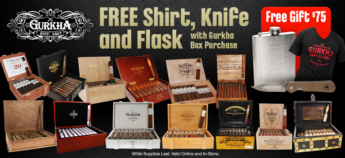 Free Knife, Flask and Shirt With Gurkha Cigar Box