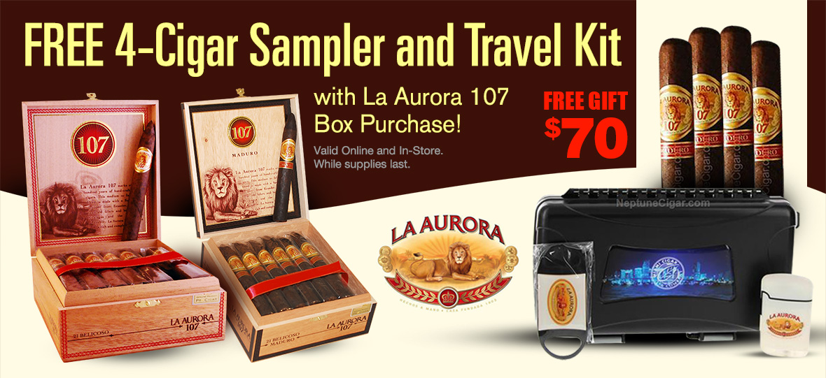 4 Cigars, one travel case, a cutter and a lighter with La Aurora Box Purchase!