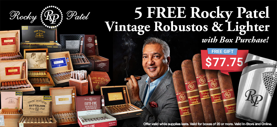5 Free Cigar With Lighter With Box Purchase of Rocky Patel Cigars