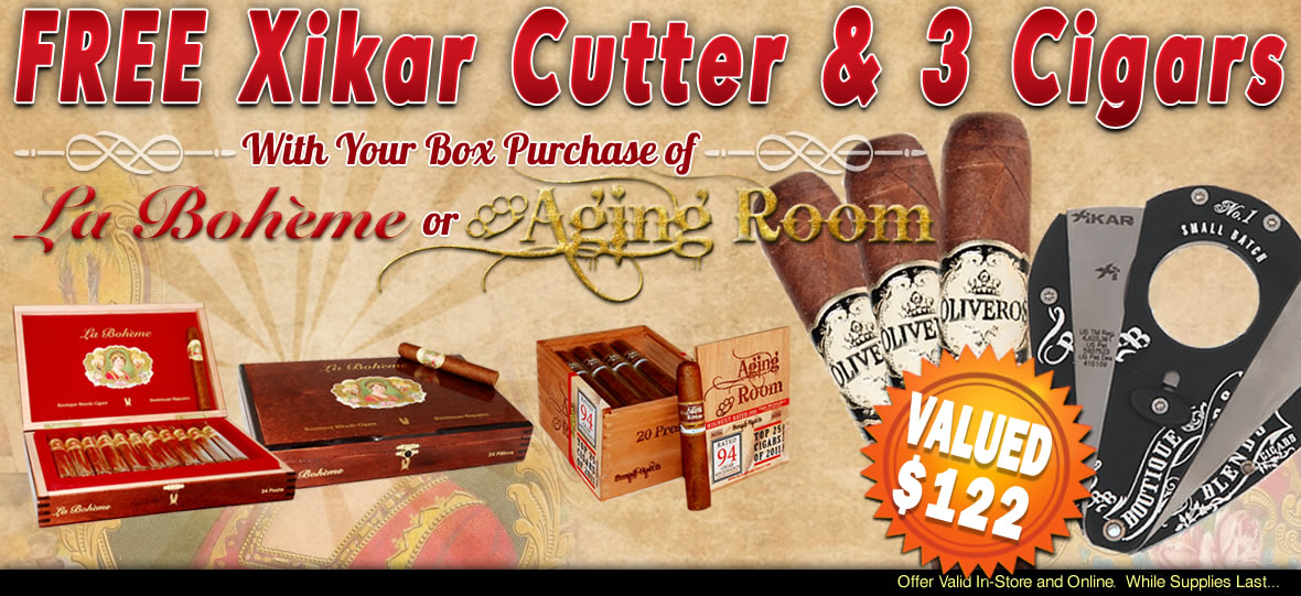 Get a Free Xikar Cutter and 3 Oliveros Cigars With La Boheme and Aging Room Box Purchase