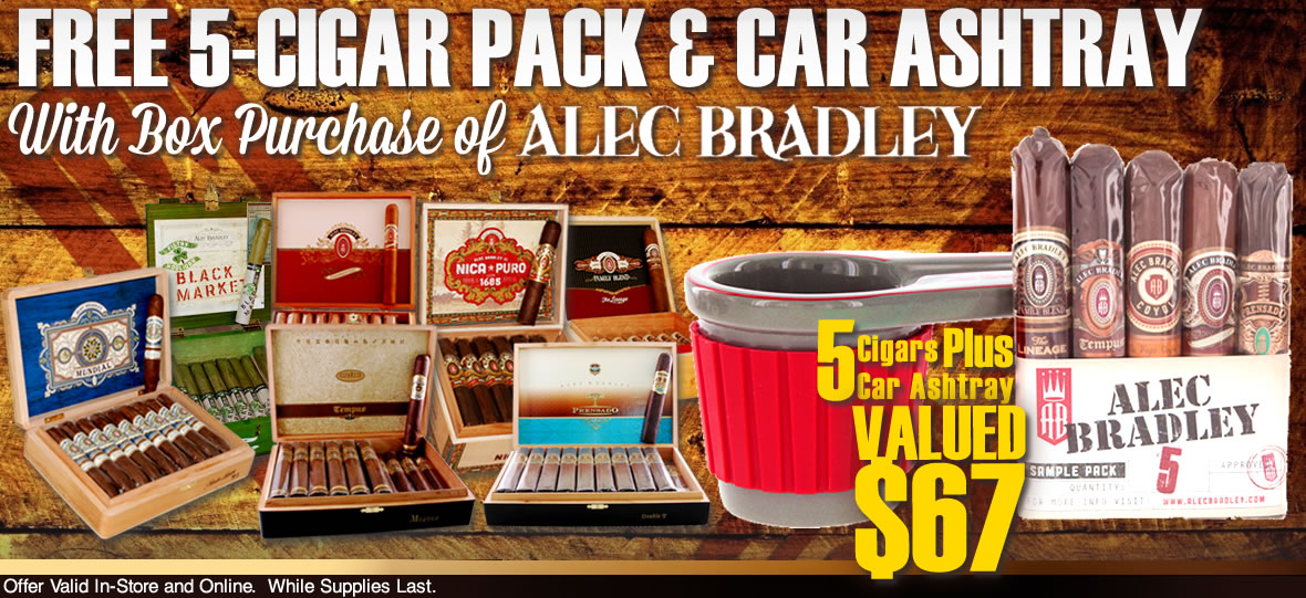 5 Free Cigars and Car Ashtray With Any Alec Bradley Box purchase