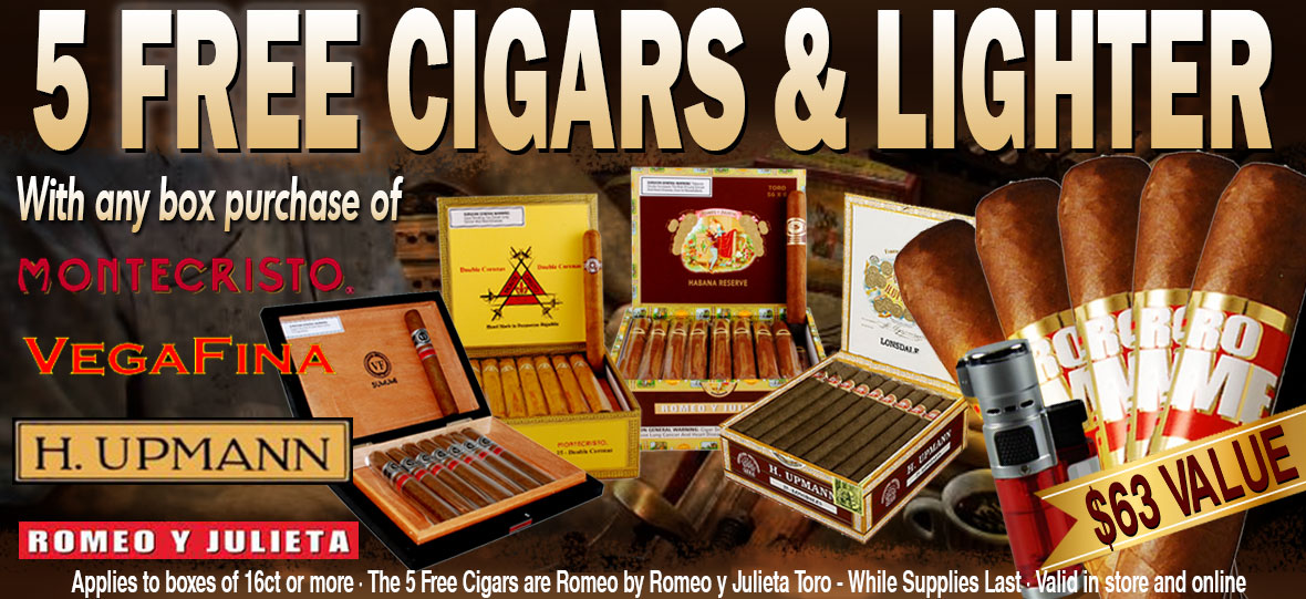 Get 5 Free Romeo by Romeo y Julieta Toro, one torch lighter, valued $63 with any box purchase