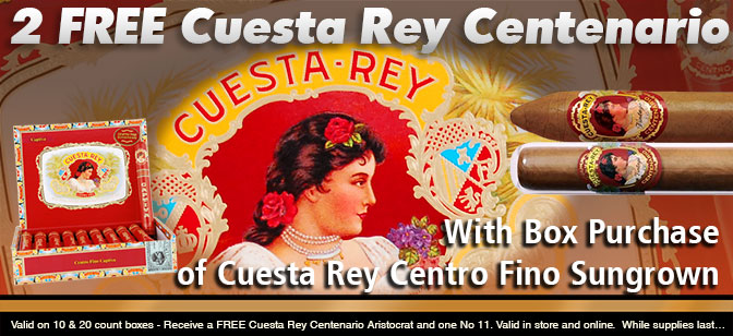 Cuesta Rey Special: Buy Any Box of 10 or More and Receive a Free 2-Cigar Sampler