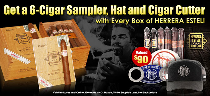 Get a 6-Cigar Sampler, Hat and Cigar Cutter with every 25-Count box of Herrera Esteli