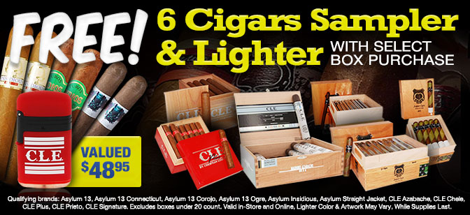 CLE Double Flame Lighter and 6-Cigar Sampler with Box Purchase