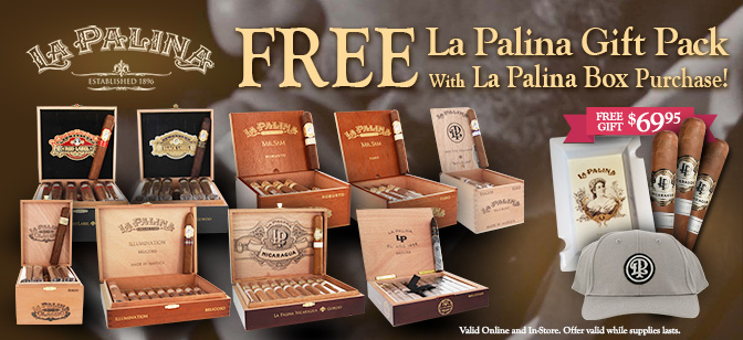La Palina Gift Pack With Box Purchase:  Sampler, Ashtray and Hat!