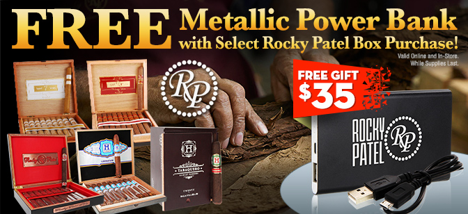 Rocky Patel: FREE Portable Rocky Patel Metallic Power Bank with Purchase