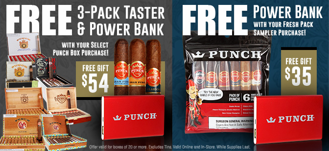 Punch Power Bank and 3-Pack Taster Promo