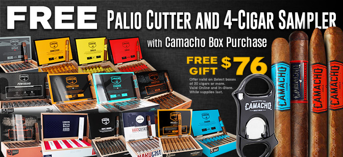Palio Cutter and 4 Cigar Sampler with Camacho Box Purchase