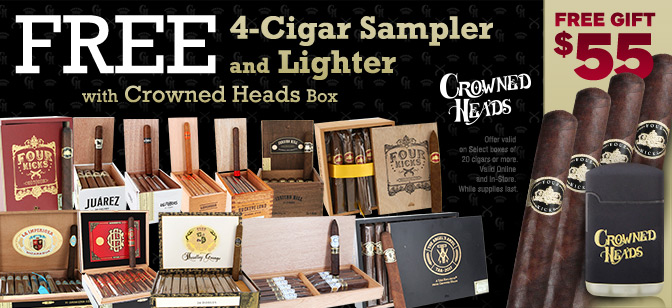 Free 4-Cigar Sampler and Lighter with Crowned Heads Box