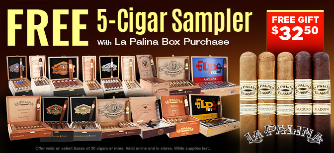 Free 5-Cigar Sampler with your La Palina Cigar box