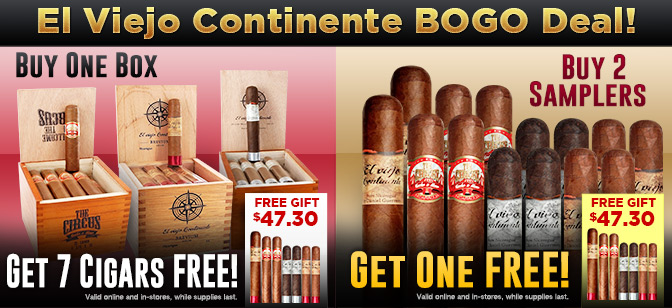 Free 7-Cigar Sampler with El Viejo Continente Box or Sampler