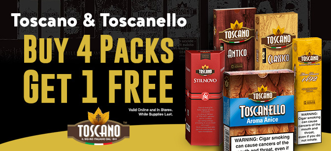 Toscano and Toscanello Cigars buy 4 Packs and Get 1 Free