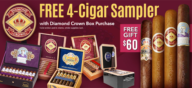 Free Diamond Crown 4-Cigar sampler with Box Purchase