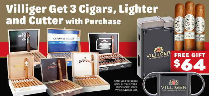 Villiger Free Cigars, Lighter and Cutter with Box Purchase
