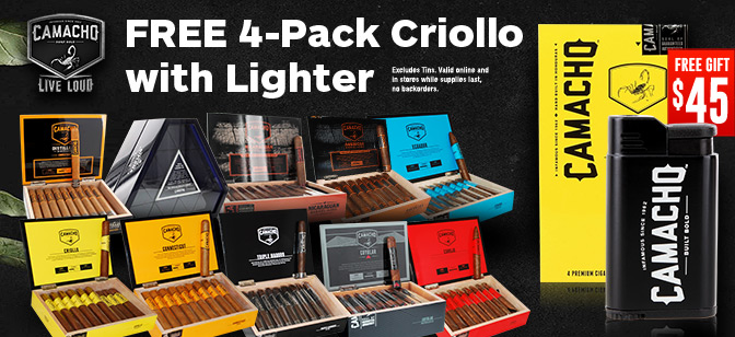Camacho Get Free 4-Pack Criollo with Lighter