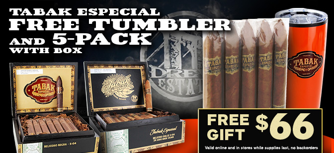 Tabak Especial Free Tumbler and 5-Cigar Pack with Box