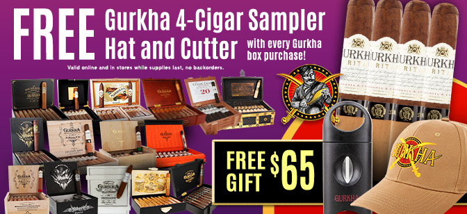 Gurkha Get 4-Cigar Sampler, Hat, Cutter Gift with Every Box