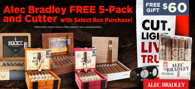 Alec Bradley FREE 5-Pack and Cutter With Select Box Purchase!